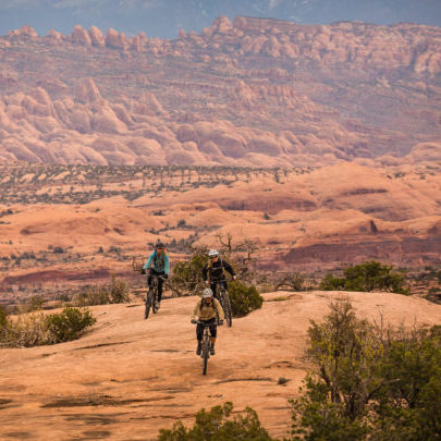 Mountain biking on the Mag 7 trail system near Moab, Utah.